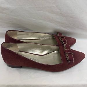 Anne Klein Burgundy Flats Pointed Tow Gold Accent